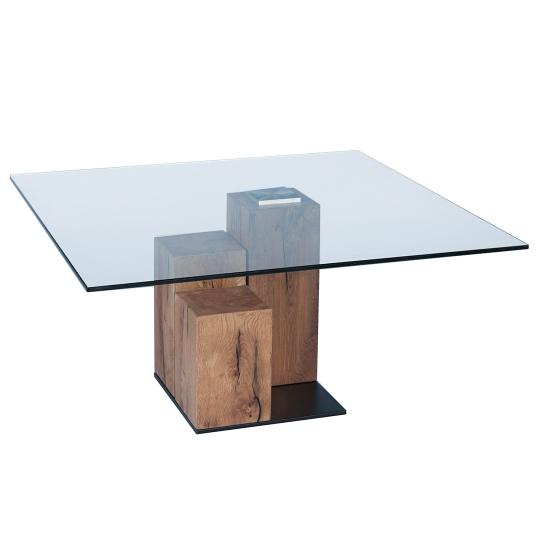 EDGAR COFFEE TABLE - Antique - 90 x 90 x 45 cm - Brown